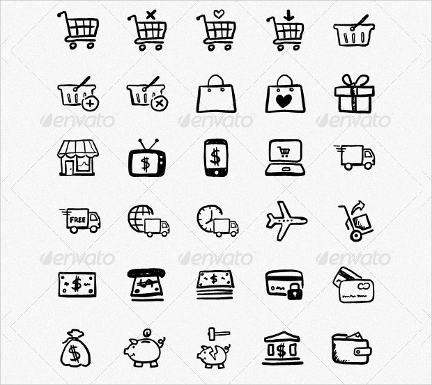 80+ Shopping and Ecommerce Icons of Hand Drawn