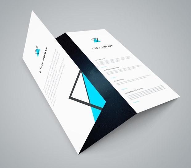 Tri Fold Paper PSD Mockup