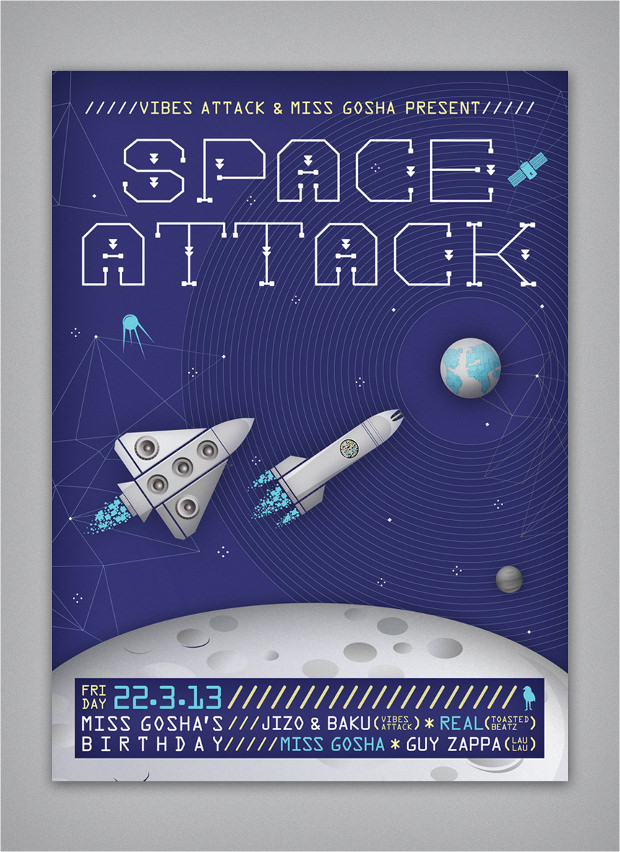 Space Attack Electronic Font Design