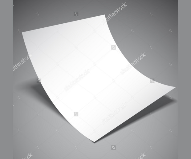 Empty white paper Folded Mockup