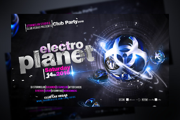 Electronic Planet Flyer Font Design