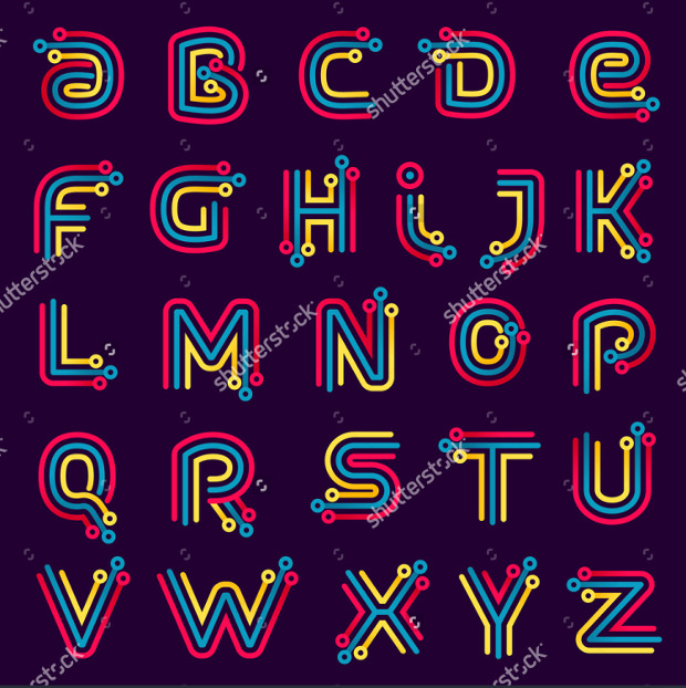 All Alphabets in Electronic Fonts