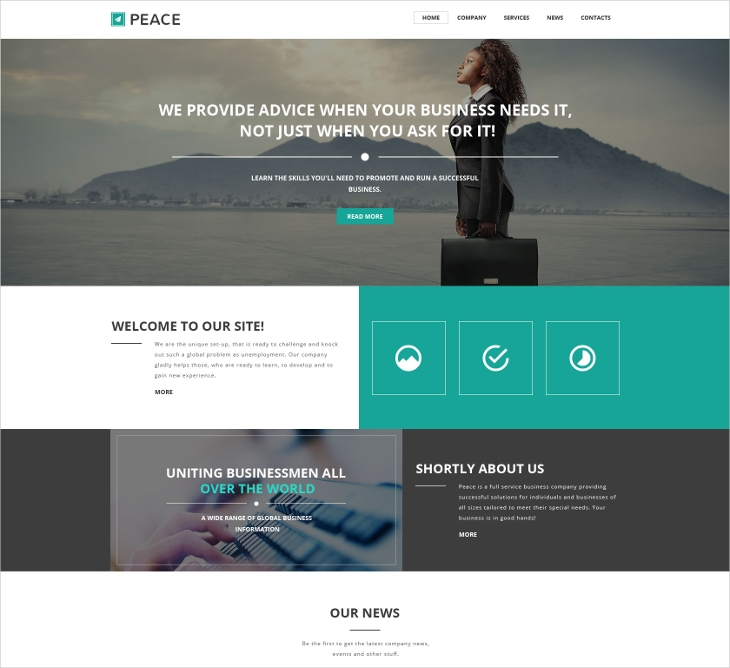 peace responsive website template