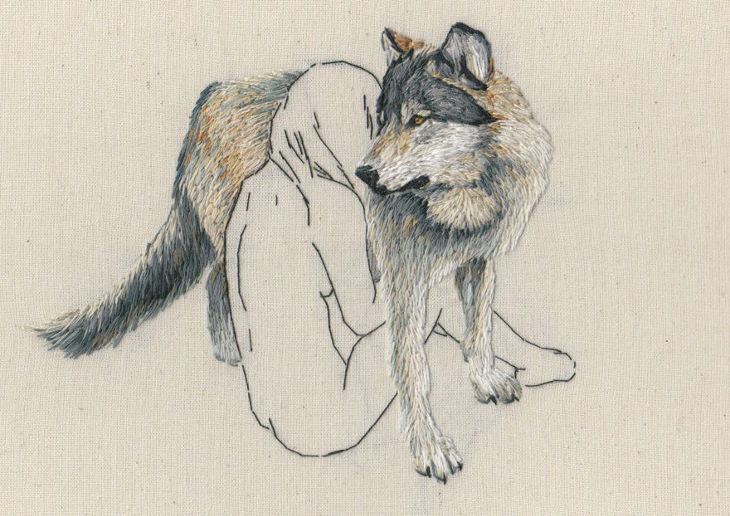 Naked Girl Wrapped Around a Wolf Drawing