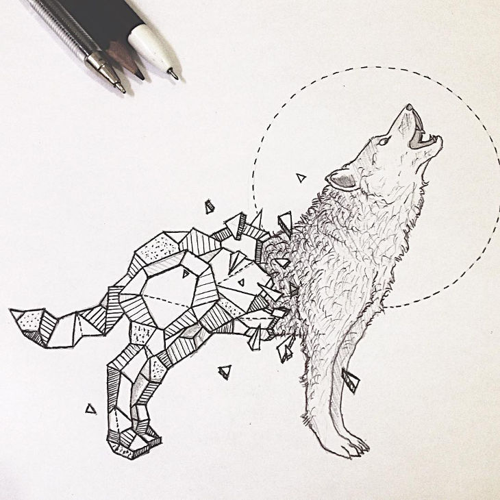 Geometric Wolf Drawing