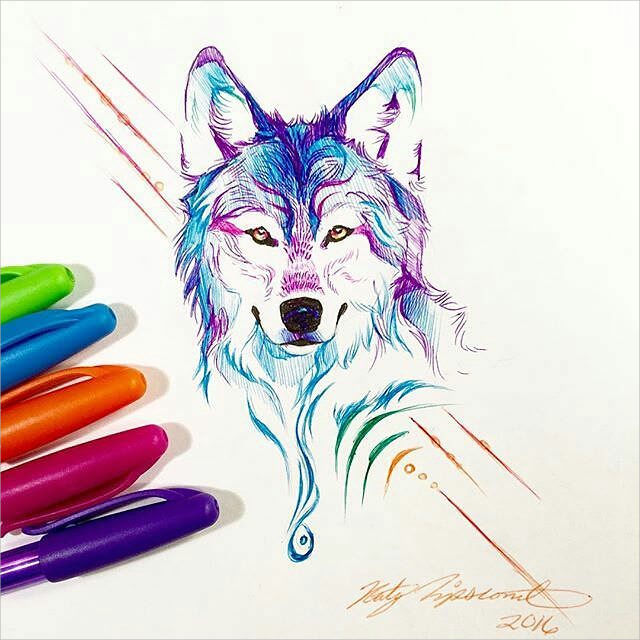 Colourful Wolf Drawing