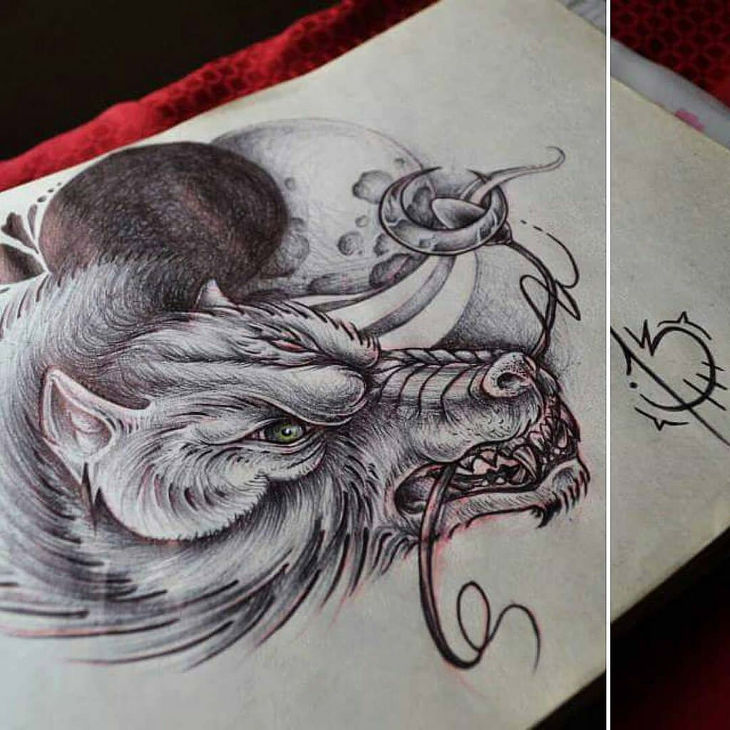 Angry Wolf Drawing