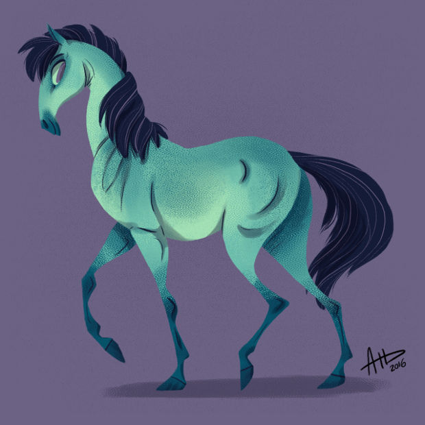 Blue Horse Drawing