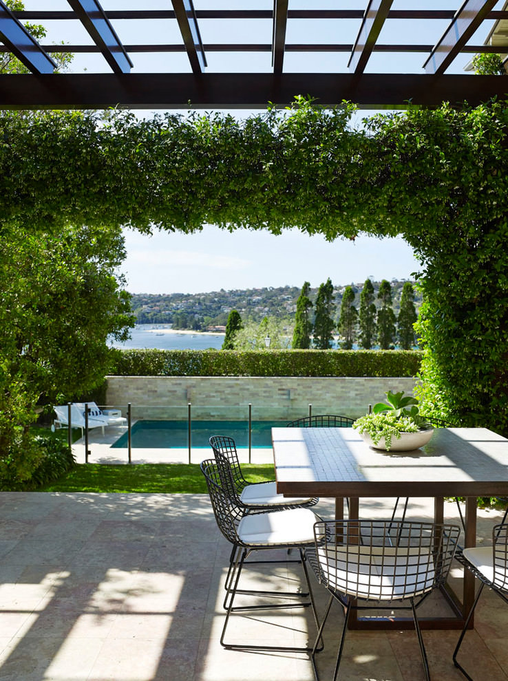 contemporary patio outdoor room design with green garden