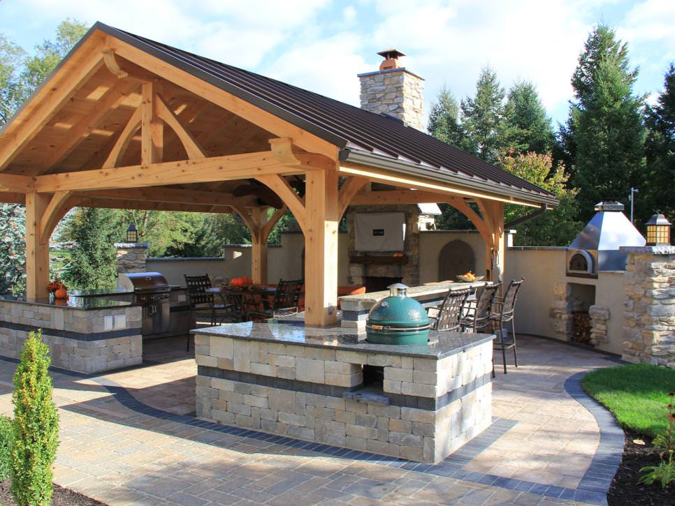 rustic covered outdoor room kitchen design