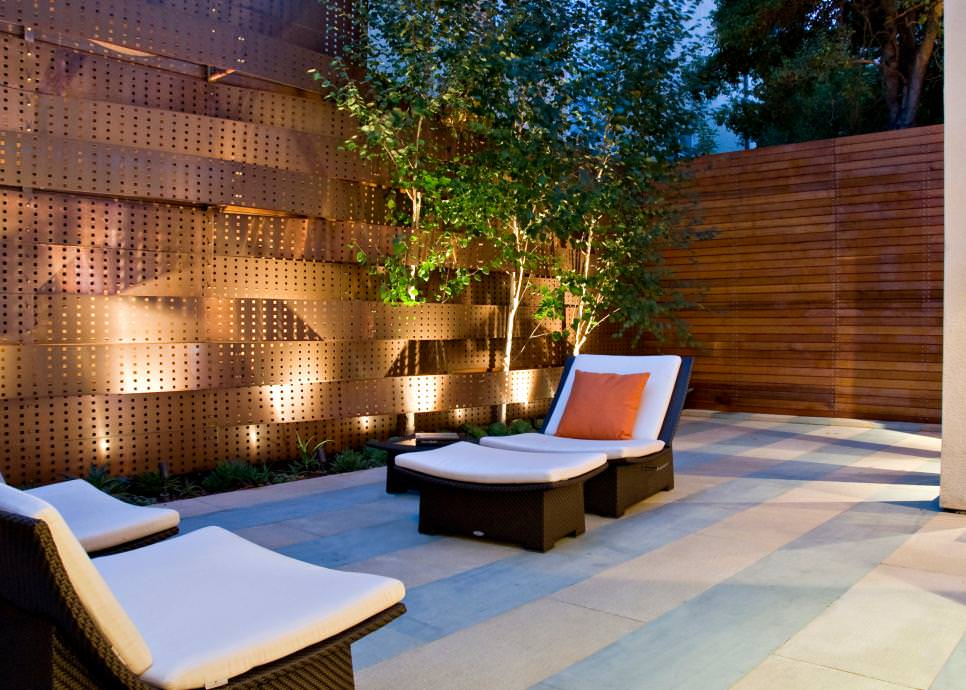 asian patio design with copper accent wall