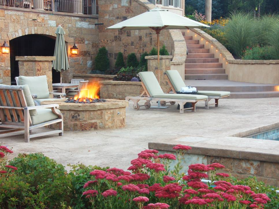 Contemporary Patio With Cozy Firepit