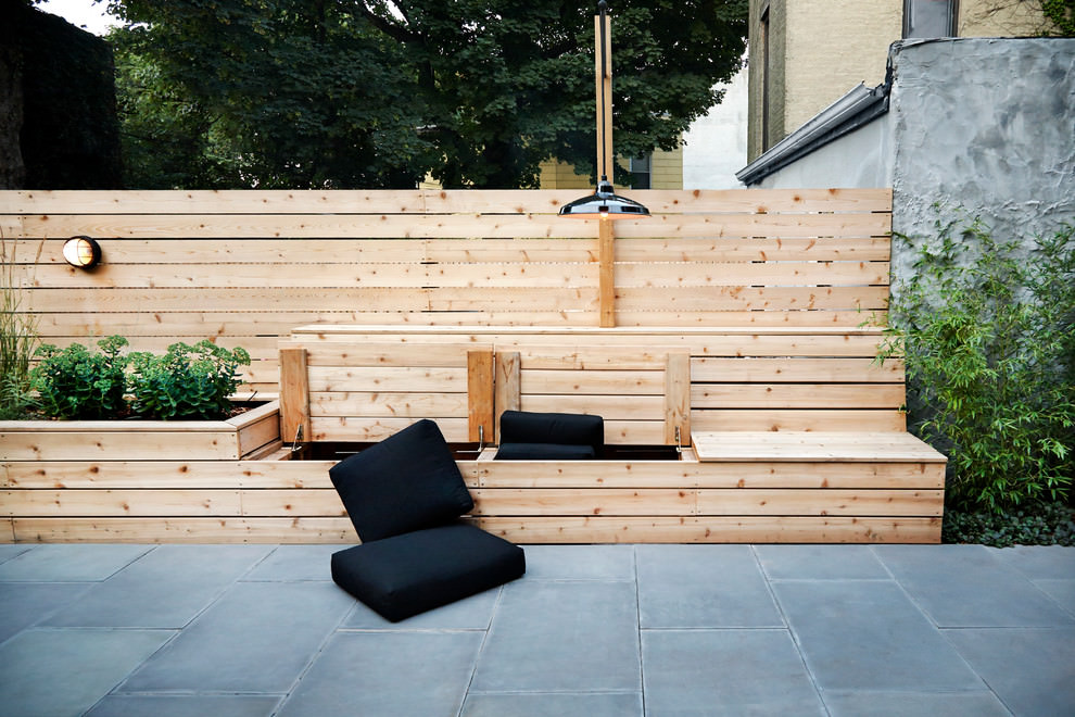 Contemporary patio Design with wooden seats