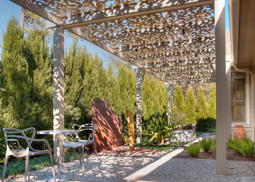 Shady Patio design with Aluminum Arbor