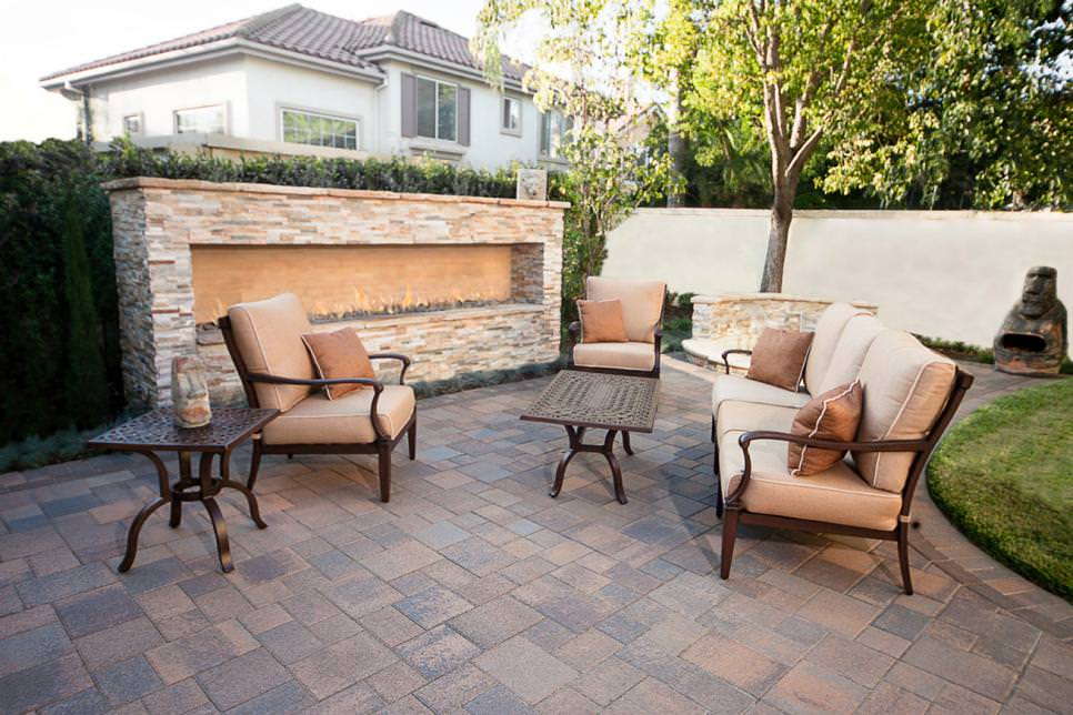 Stone Patio Redesign With Outdoor Fireplace