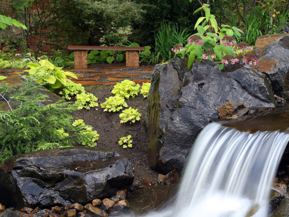 Waterfalls with patio design seating