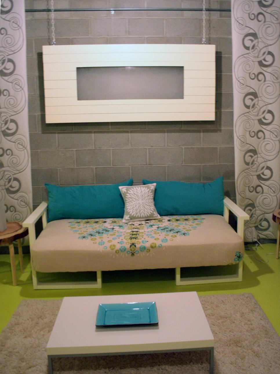 green blue contemporary room with cinder block walls design