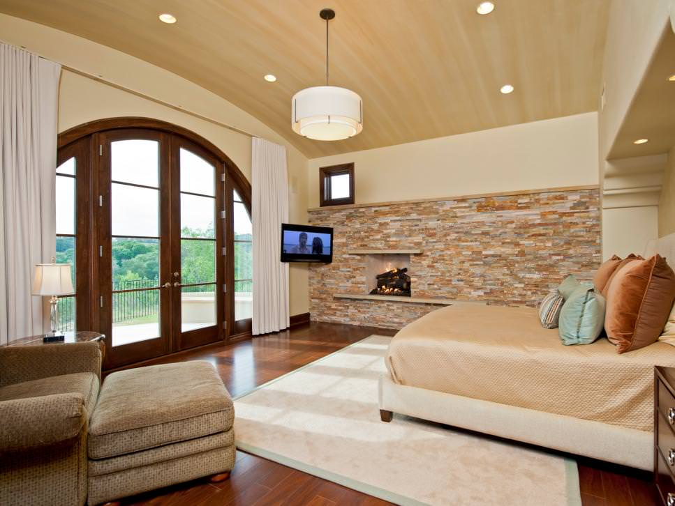 Master Bedroom with Stone Accent Wall block design