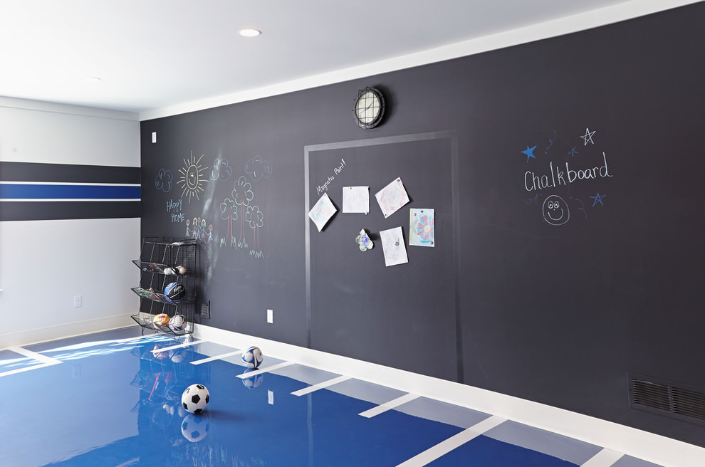 Beach style kids room with chalkboard wall design