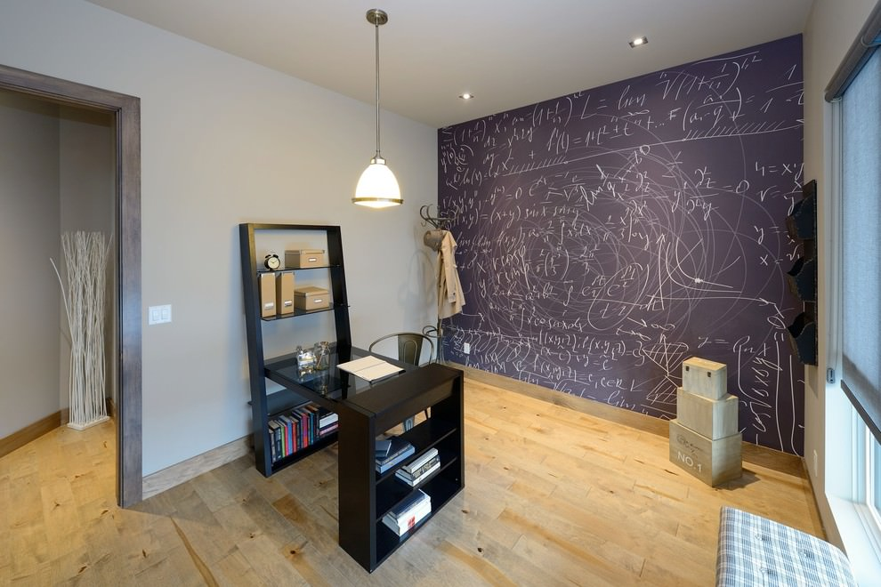 Contemporary home office with chalkboard wall design