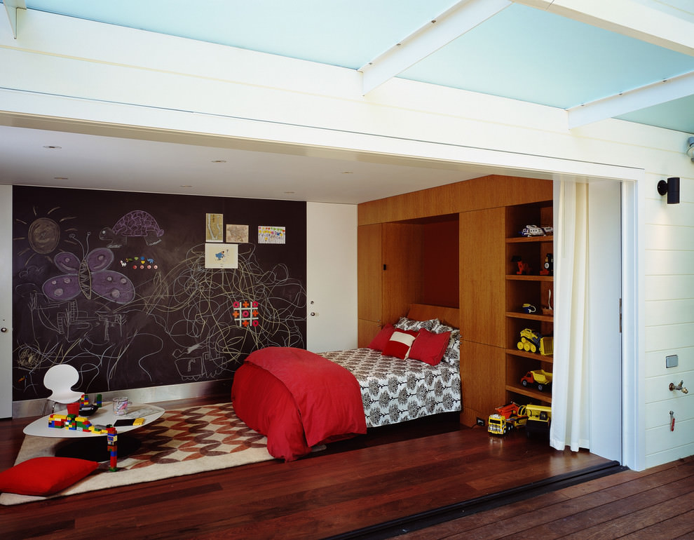 Contemporary kids bedroom with chalkboard wall design