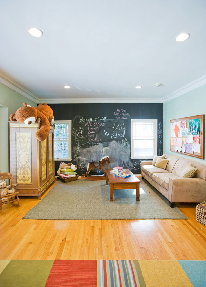 contemporary kidsroom with chalkboard wall design