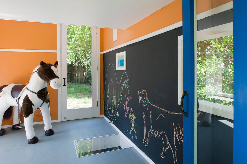 Nice kids bedroom with chalkboard wall design