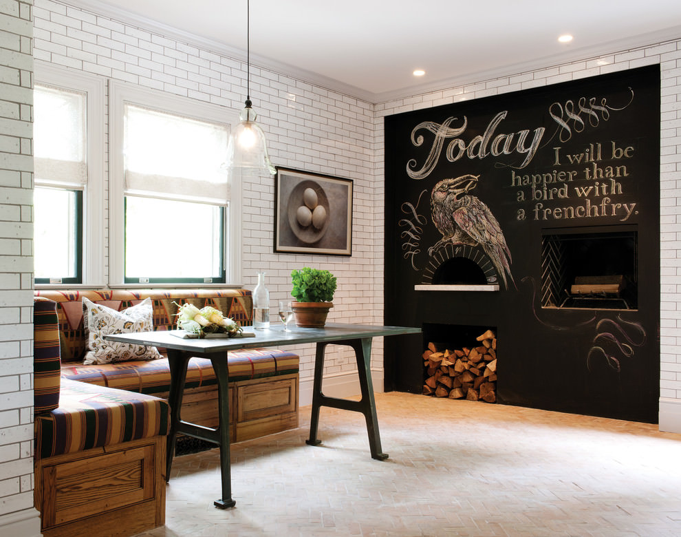 rustic dining room with chalkboard wall design