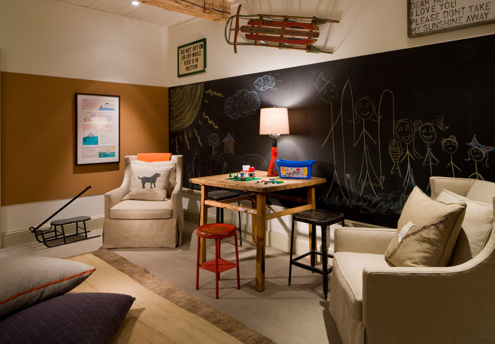 rustic kids room with chalkboard wall design