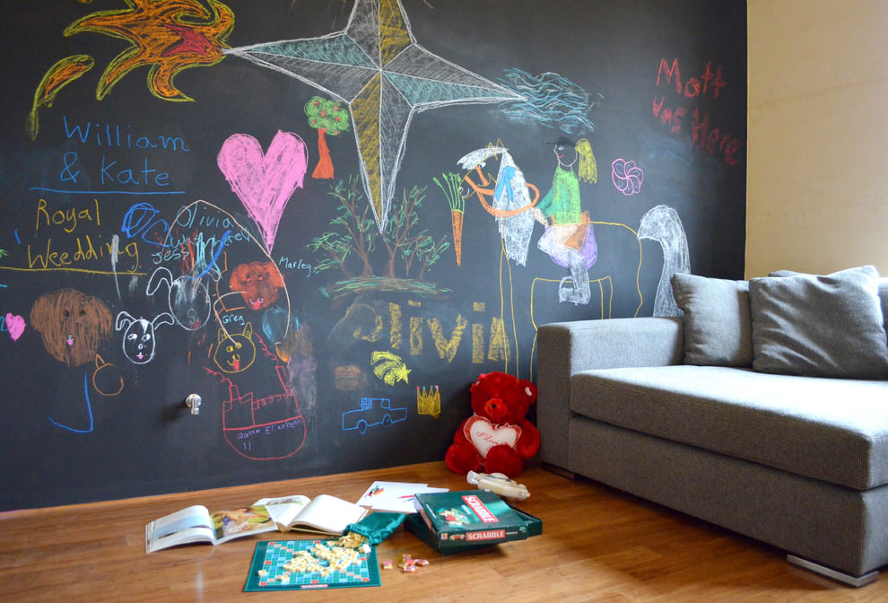 spaces kids room with chalkboard wall design - Kids Room Wall Design