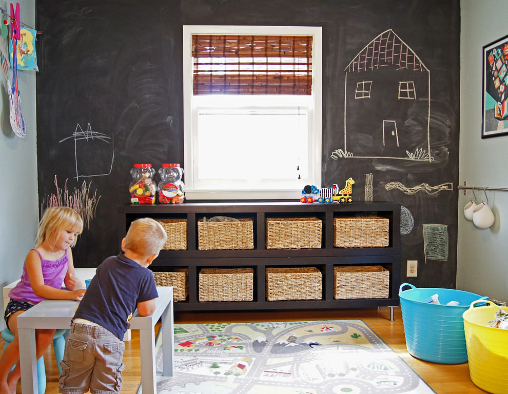 transitional kids room with chalkboard design