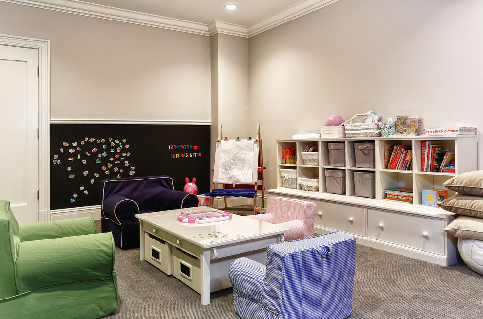 Transitional kids room with sticky chalkboard design