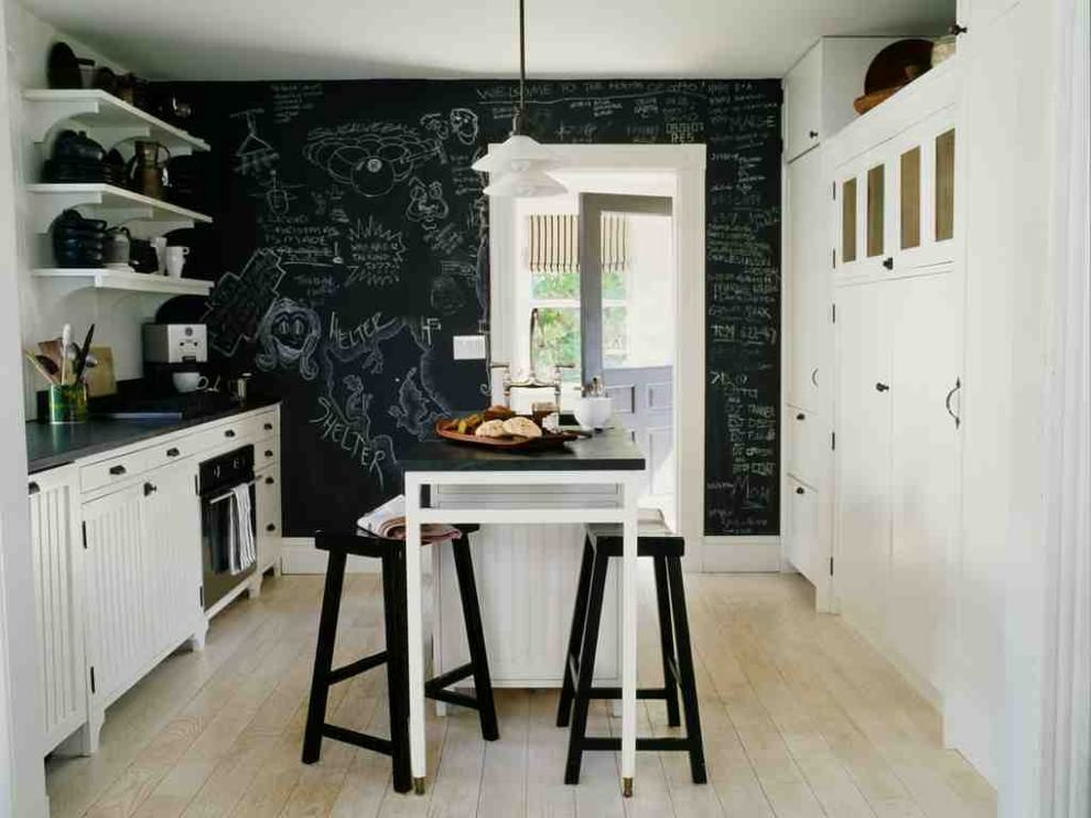 kitchen room with chalkboard wall design