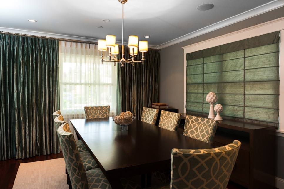 Transitional Dining Room With Green Shades