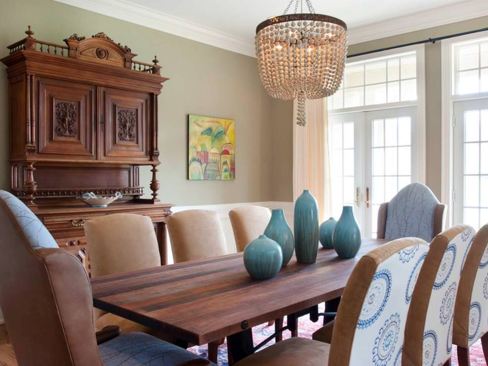 Transitional Green Dining Room Design With Chandelier