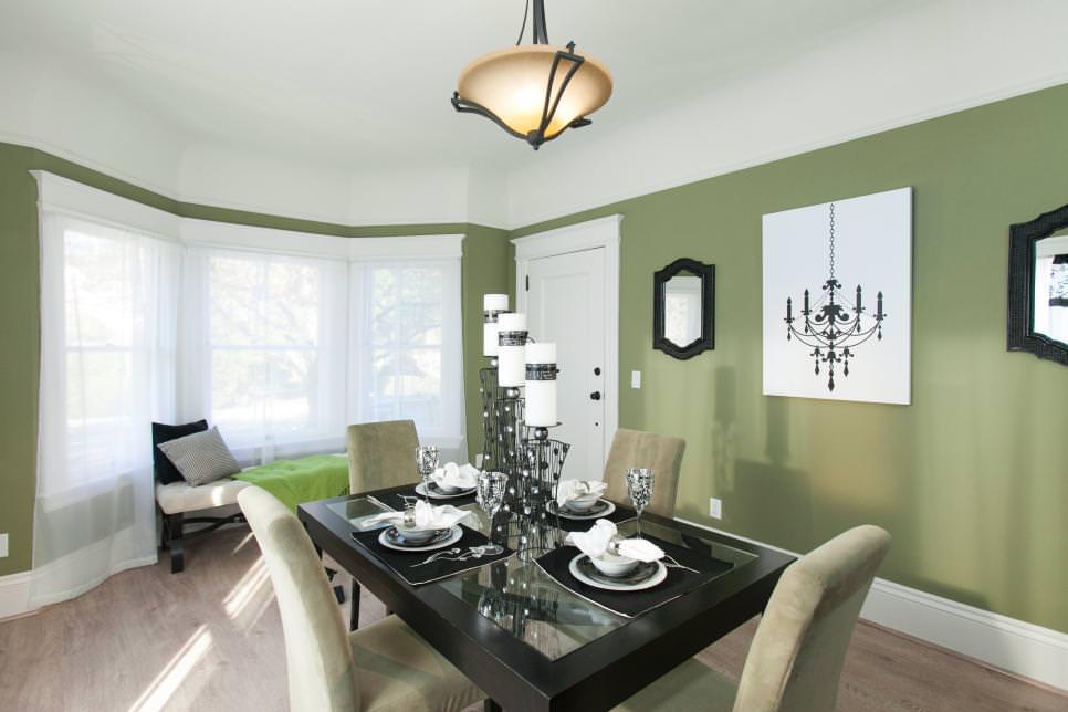transitional green dining room