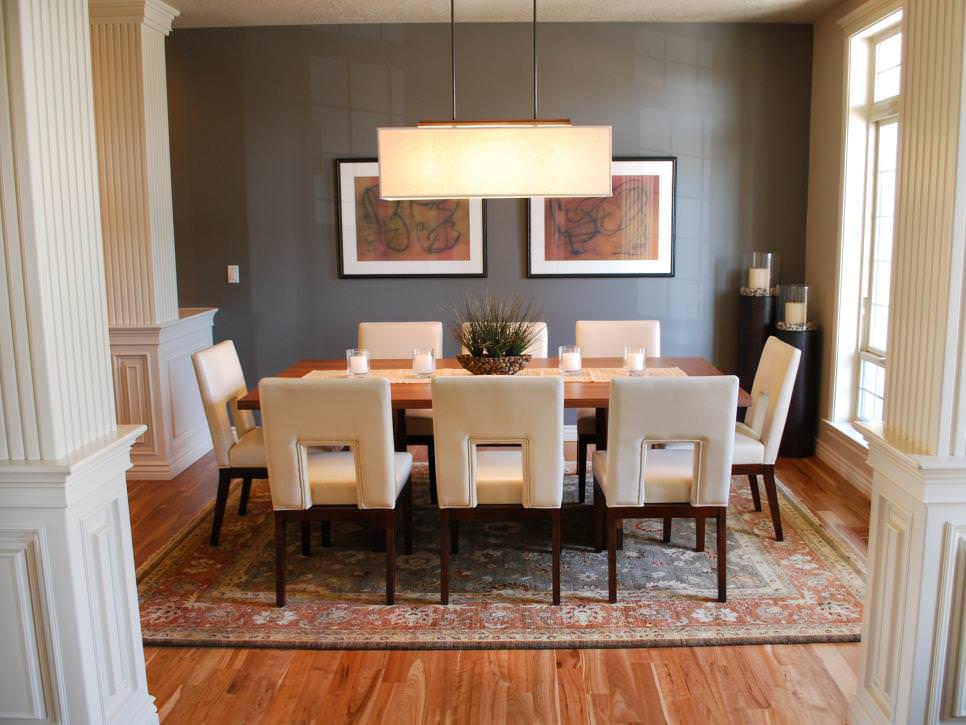 Transitional White Neutral Dining Room