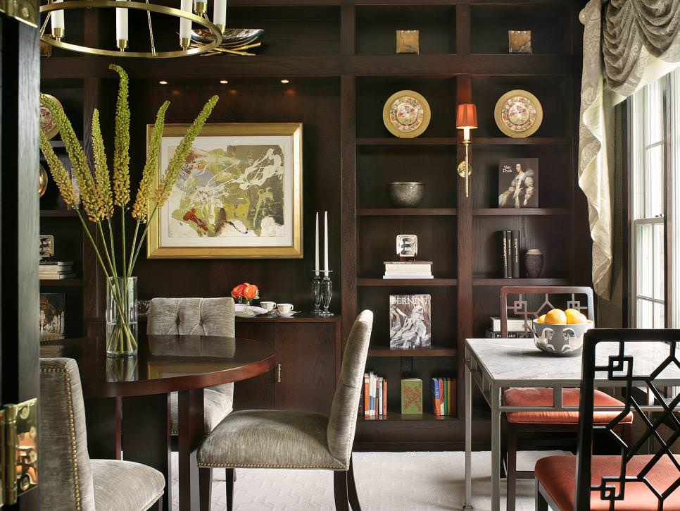 Elegant Dining Room design With Custom Bookcases