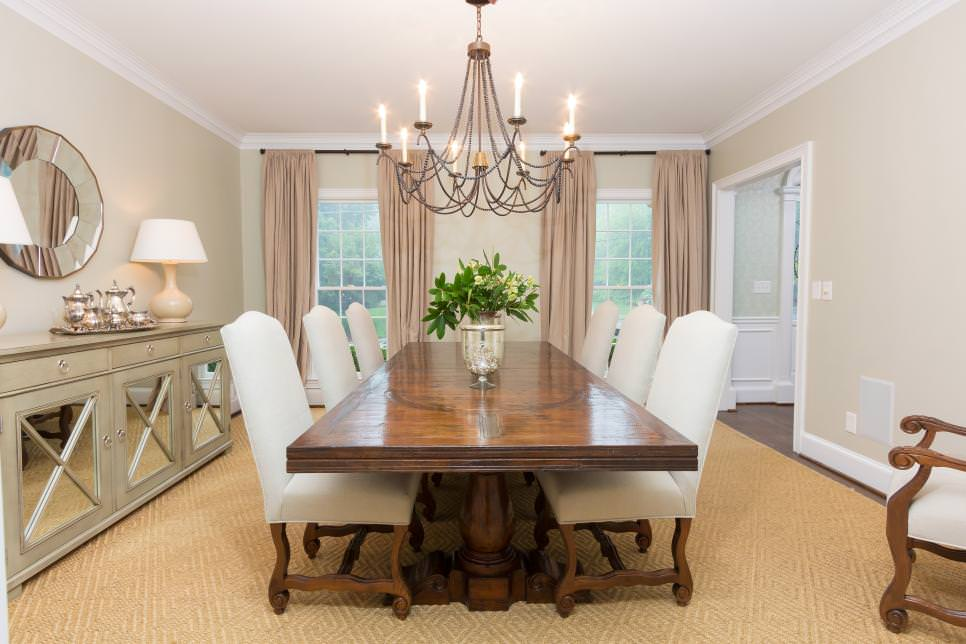 Transitional Neutral Dining Room design Is Spacious Elegant