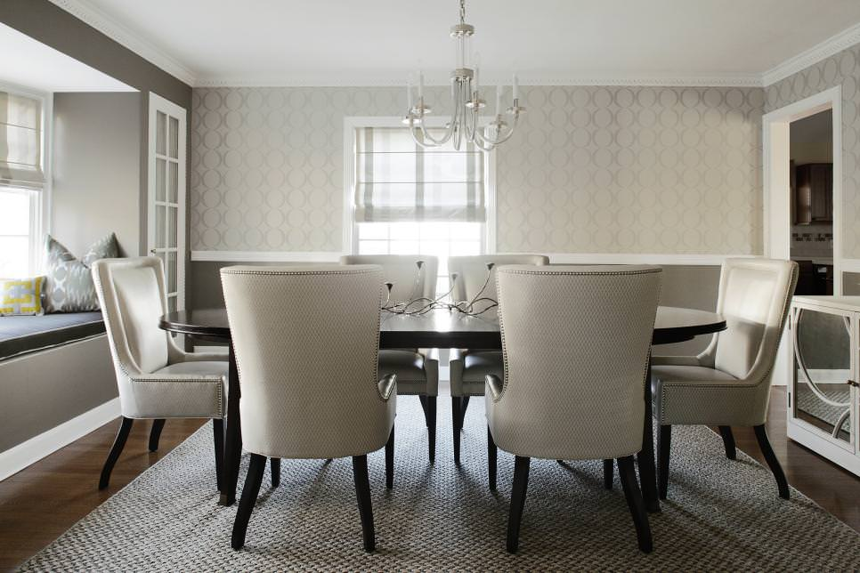 White Transitional Dining Room Is Elegant