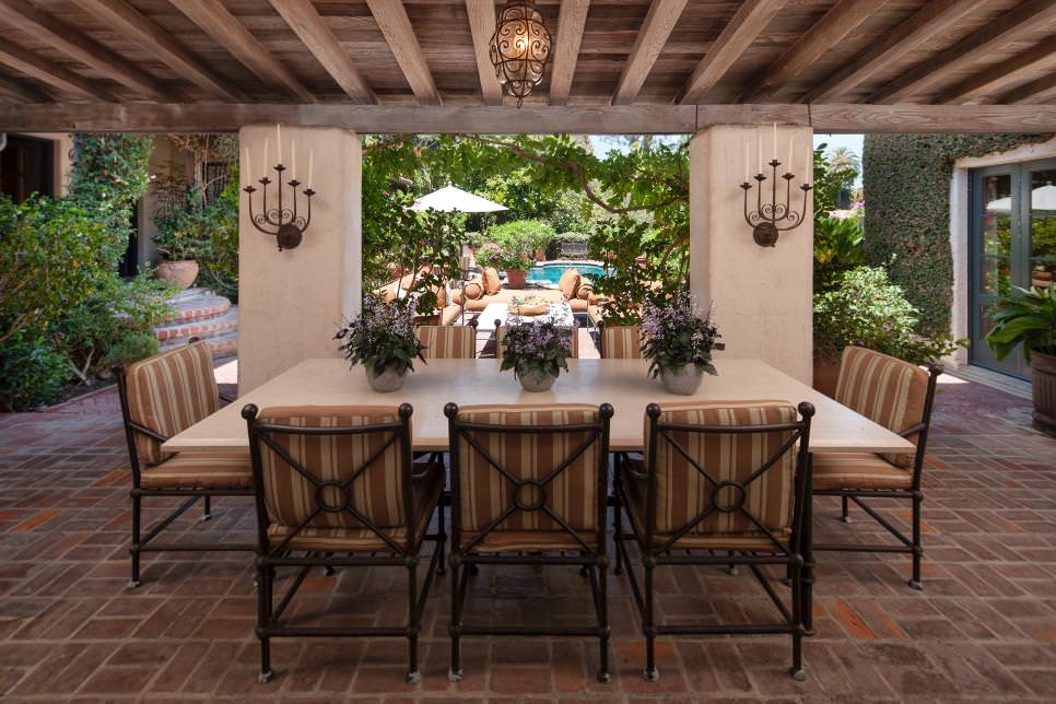 Formal Outdoor Dining Room with Old World Charm