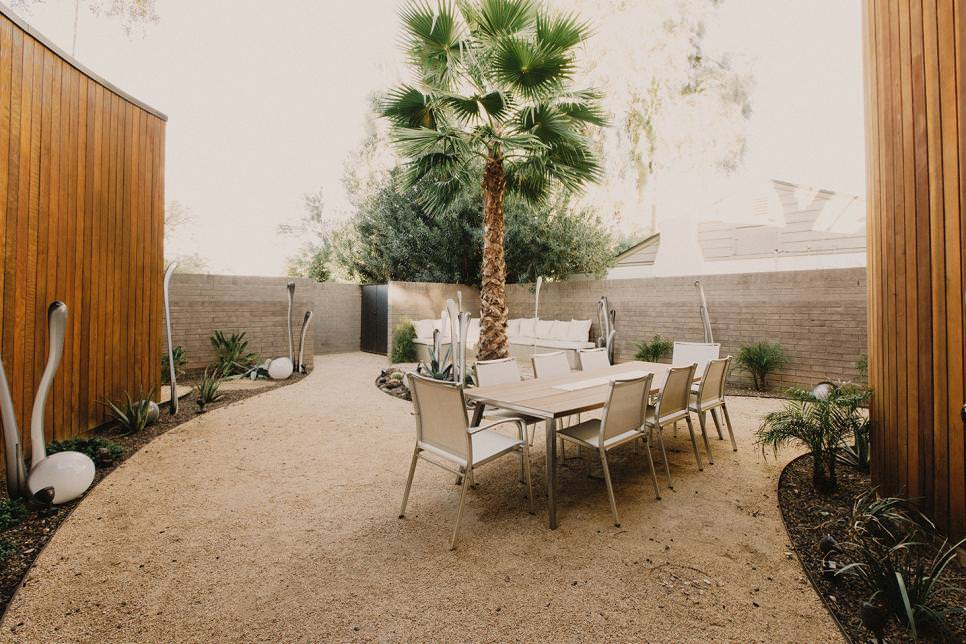Modern Outdoor Dining Room in Desert Courtyard