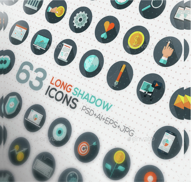 120+ Flat Designed Icons Set