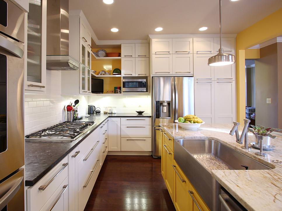 Contemporary Kitchen With wood floor remodel design