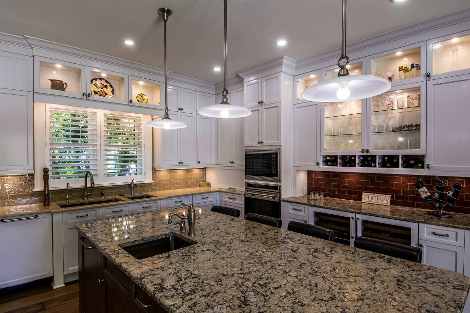 Galley Kitchen in White With Glass-Front Cabinets remodel
