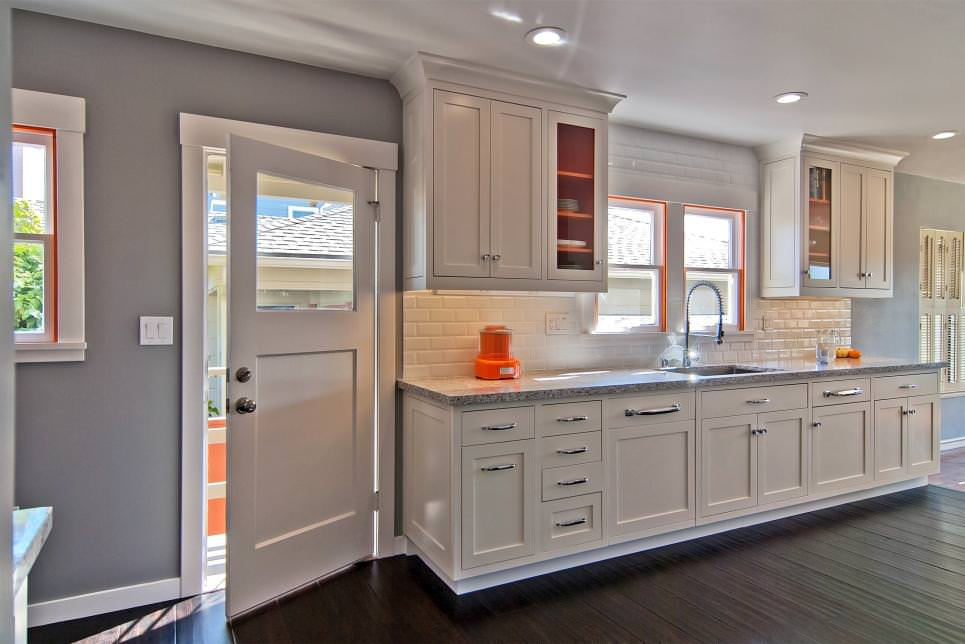 Gray Kitchen With White Tile Backsplash remodel design