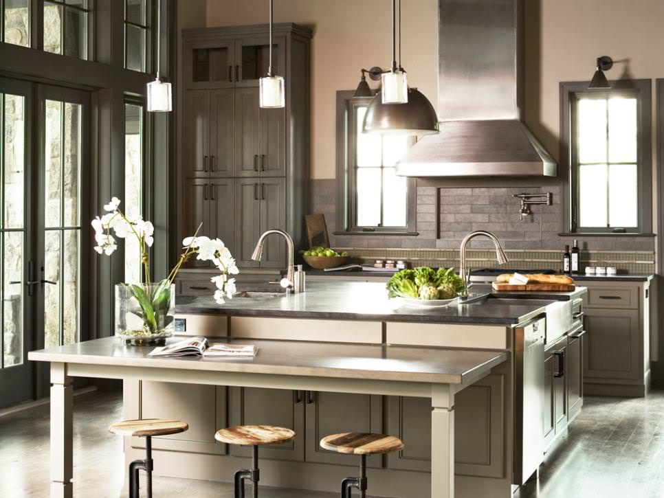 Gray Transitional Chef Kitchen remodeled design