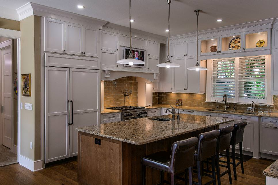 Transitional Kitchen With Crisp White Cabinets remodeled design