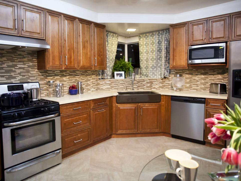 Transitional Kitchen With Wood Cabinets remodeled