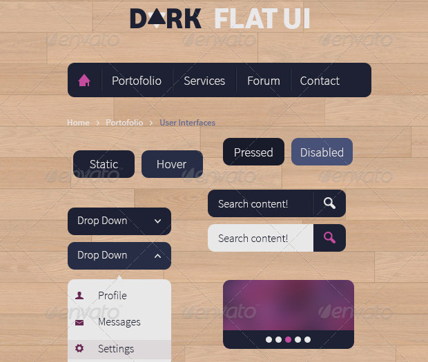 dark flat ui psd template